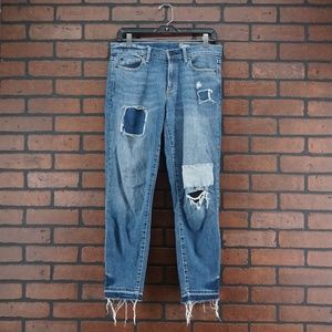 GAP Distressed Patchwork Raw Hem Straight Jeans 28